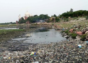 Yamuna River Polluted near Taj Mahal