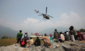 Pilgrims being airlifted at Uttarakhand
