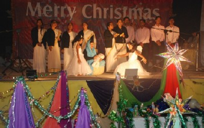 Girls Singing Christmas Carol in Patna