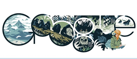 Google Doodle for Dian Fossey's 82nd Birthday