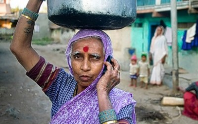 Rural woman using Mobile phone