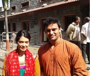 Sangram Singh and Payal Rohtagi at Shirdi Sai Baba Mandir