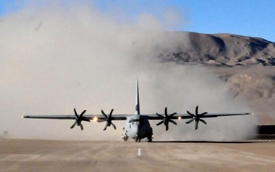 IAF C130J Super Hercules Aircraft lands at DBO in Ladakh