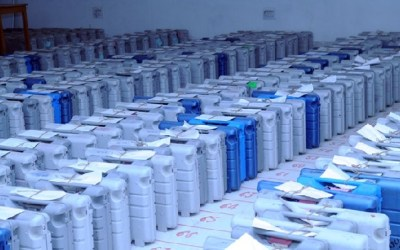The Electronic Voting Machines (EVMs) required for use in the General Elections-2014, at a distribution center, in Chhapra, Bihar on May 06, 2014.