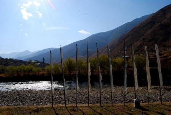 A River Stream next to a Hotel in Bhutan