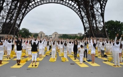 World Yoga Day Participants below Eiffel Tower in France