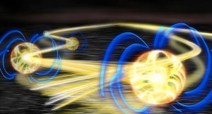 Dipole-mediated energy transport of Rydberg-excitations (glowing balls) in an atomic sea – artist impression. Picture credits: S. Whitlock / G. Günter