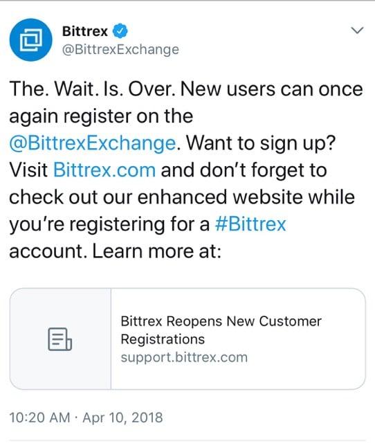 O Bittrex Exchange está de volta!  Annnnnnd está de novo