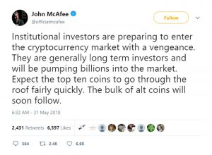 Bitcoin in Brief Wednesday: McAfee Predicts Bull Run Lead by Institutional Investors as Crypto Markets Dip