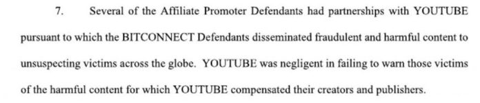 Youtube Dragged Into Bitconnect Class Action Lawsuit for Failure to Protect Victims