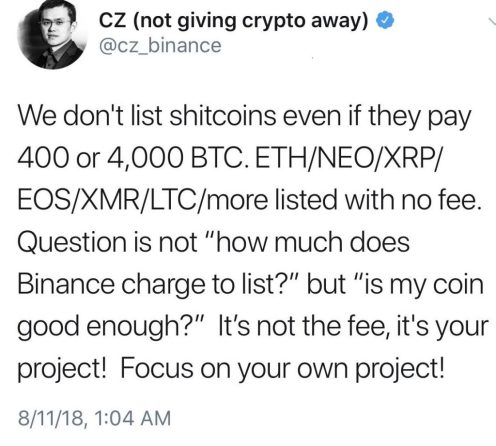 "Binance Denies 400 BTC Listing Quote; Accuser Responds, ""You are a F***king Liar"""
