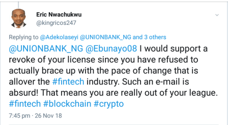 Outrage Over Union Bank of Nigeria's Threat to Close Crypto-Related Accounts