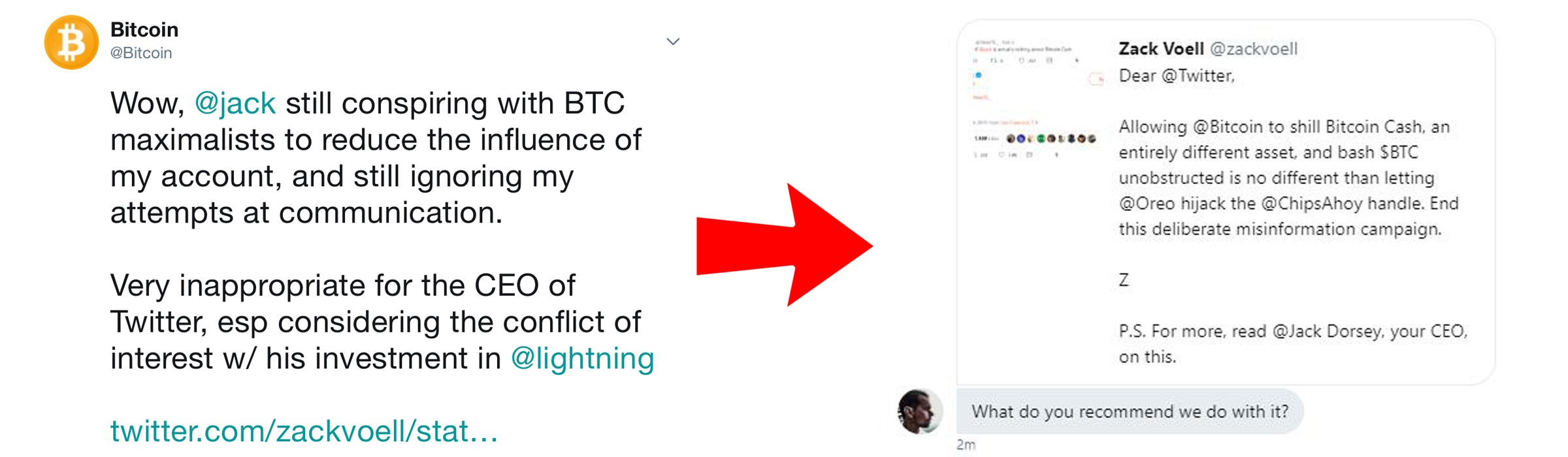 Attempts to Deplatform @Bitcoin Account Reveal Private Message With Twitter CEO
