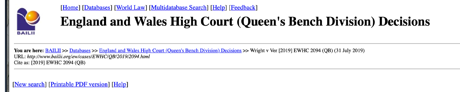 UK Judge Strikes Out Craig Wright's Libel Lawsuit Against Roger Ver