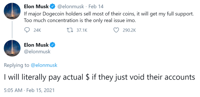 Elon Musk urges Dogecoin whales to abandon their coins-even willing to pay