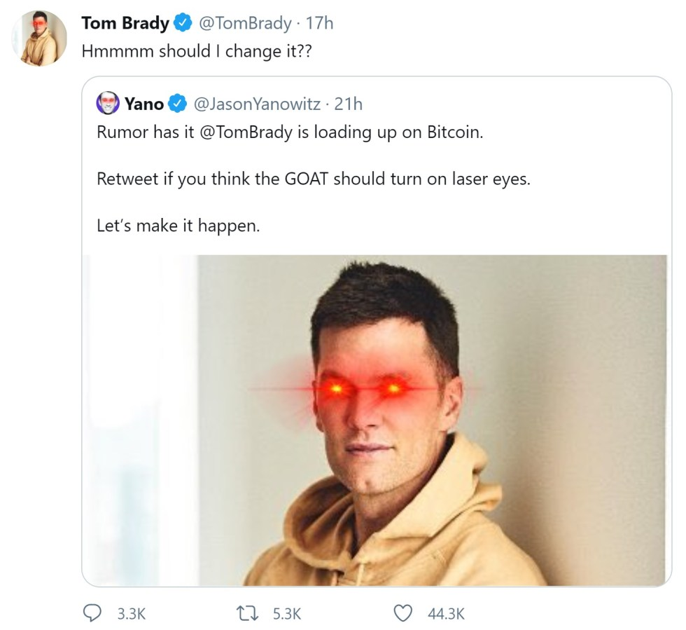 NFL Star Quarterback Tom Brady Hops on the Bitcoin Bandwagon, Turns on Laser Eyes