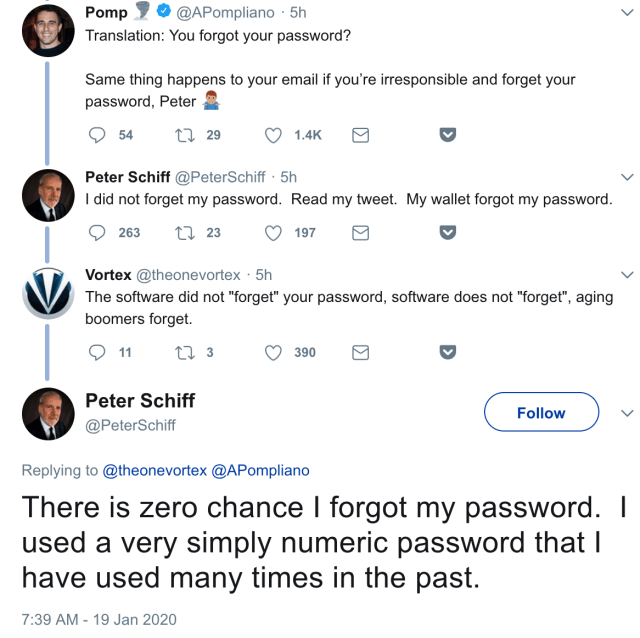 Peter Schiff Forgets Bitcoin Wallet Password, Blames Bitcoin