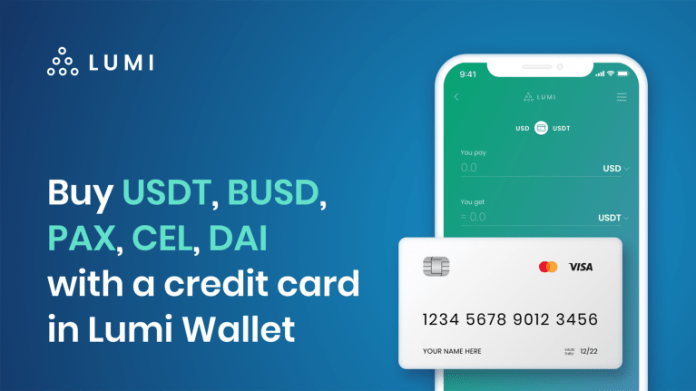 Buy Stablecoins With Your Credit Card in Lumi Wallet