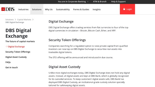 DBS Bank, Southeast Asia's largest bank, plans to launch a cryptocurrency exchange