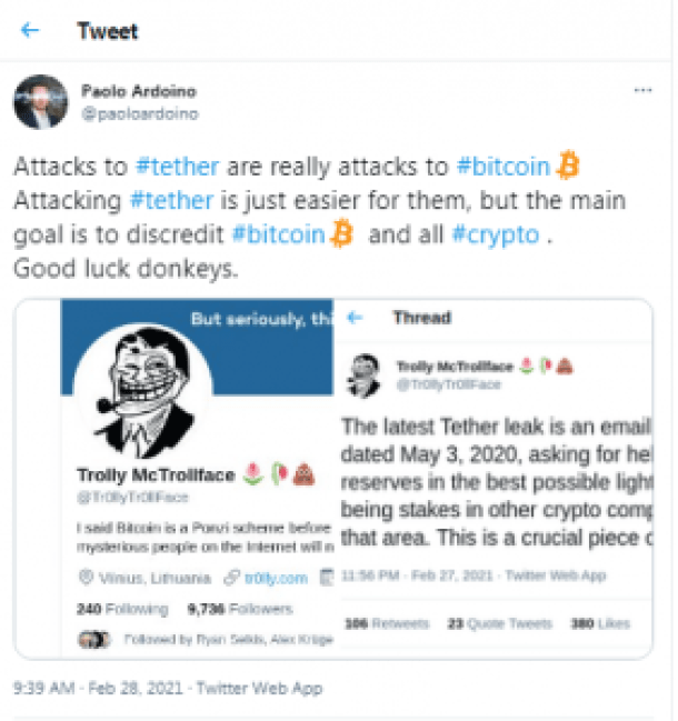 Stablecoin Issuer Tether Says It Is a Victim of a 500 BTC Ransom Demand Infoleak Threat