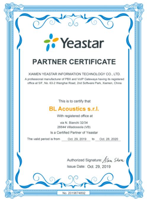 BL Acoustics è partner certificato Yeastar