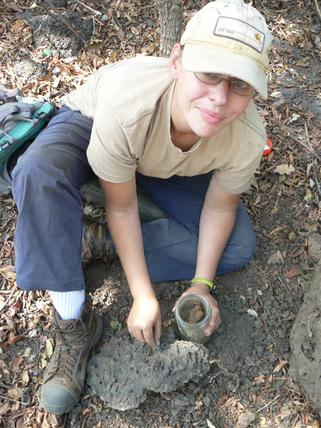 Stacey Linshield in the field collecting termite samples to learn more about the chimpanzee diet