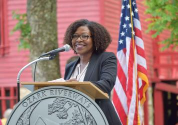 U.S. Mint Senior Advisor Michele Satchell addresses the crowd