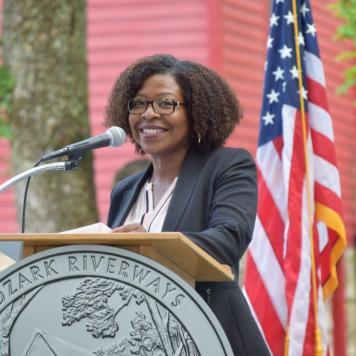 U.S. Mint Senior Advisor Michele Satchell addresses the crowd