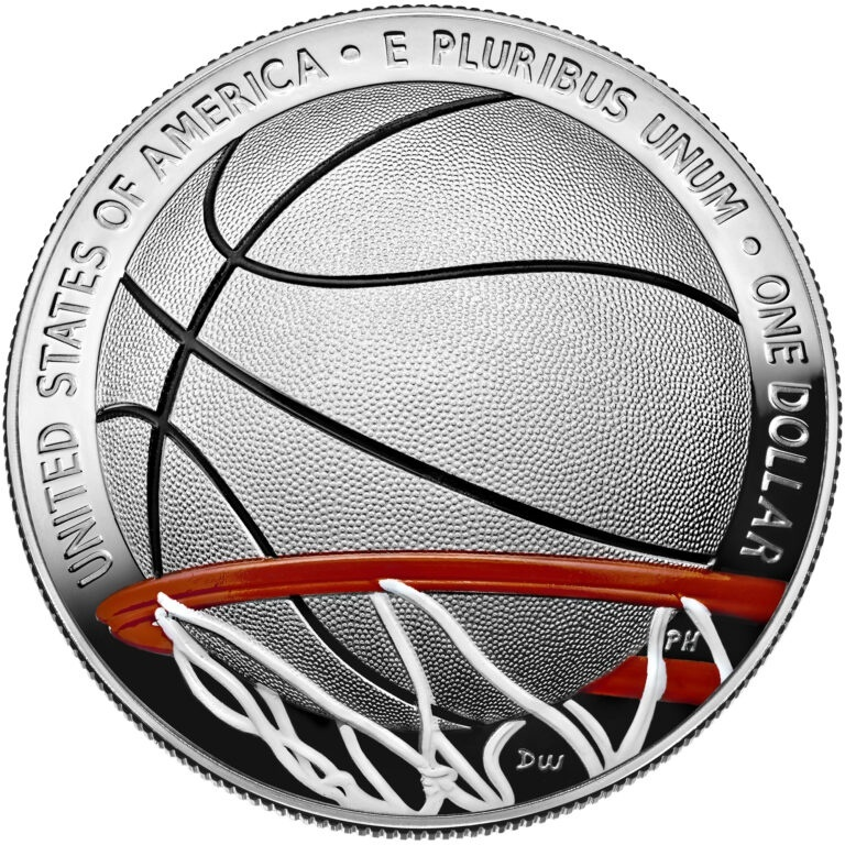 Colorized Basketball Hall of Fame Silver Dollar Coin