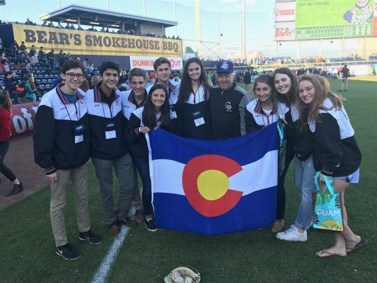CA students with Jerry Weinstein, GM of the Hartford Yard Goats, the AA farm team for the Colorado Rockies.