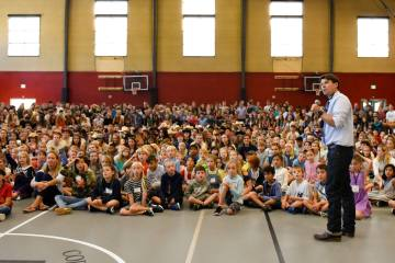 Dr. Mike Davis welcomes all students to the new school year at the Back-to-School Assembly.