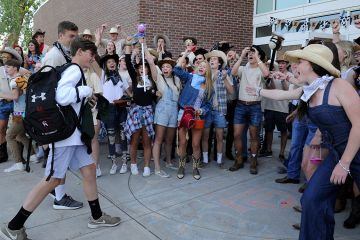 CA Seniors greet freshmen on the first day of school.