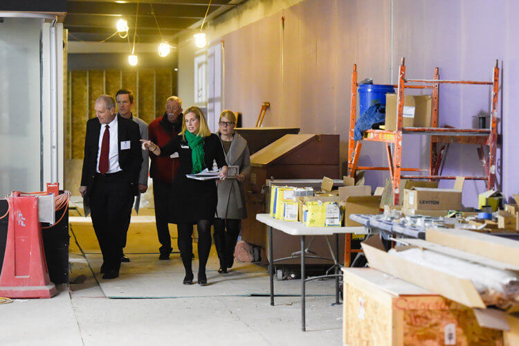 Advancement Officer Gravely Wilson treated small groups of guests to a tour of Phase II of the 66,000-square-foot Athletic Center