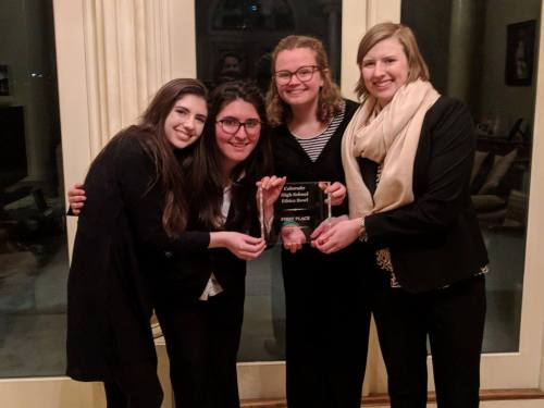 The Colorado HS Ethics Bowl State Champion team includes, from left: Anna Fucarino, Jasmine Bilir, Kayleigh Milligan, Anne Freeman