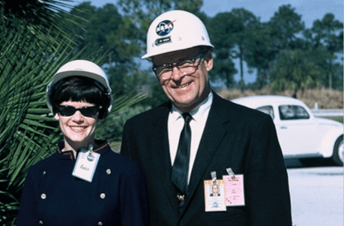 Dr. Mike Davis's mother and grandfather, Deputy Director of Cape Canaveral Albert F. Seipert.