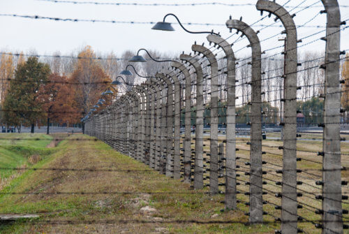 Barbed wire fences in Auschwitz II-Birkenau, a former Nazi extermination camp and now a museum on October 28, 2007 in Oswiecim, Poland
