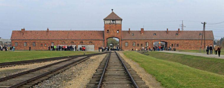 Rail entrance to concentration camp at Auschwitz Birkenau KZ, Poland.
