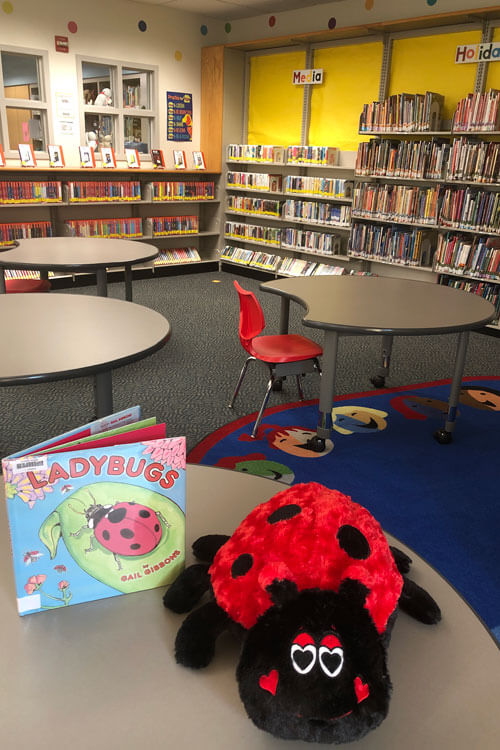 Ladybook the Ladybug, shares one of her favorite books in the library instruction area, where tables and seating are now 6 feet apart.