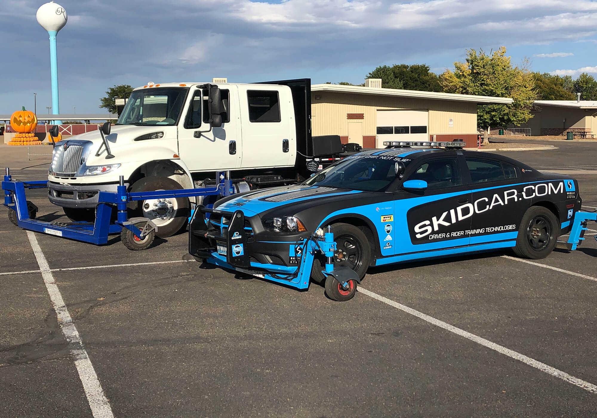 SKIDCAR and SKIDTRUCK in parking lot