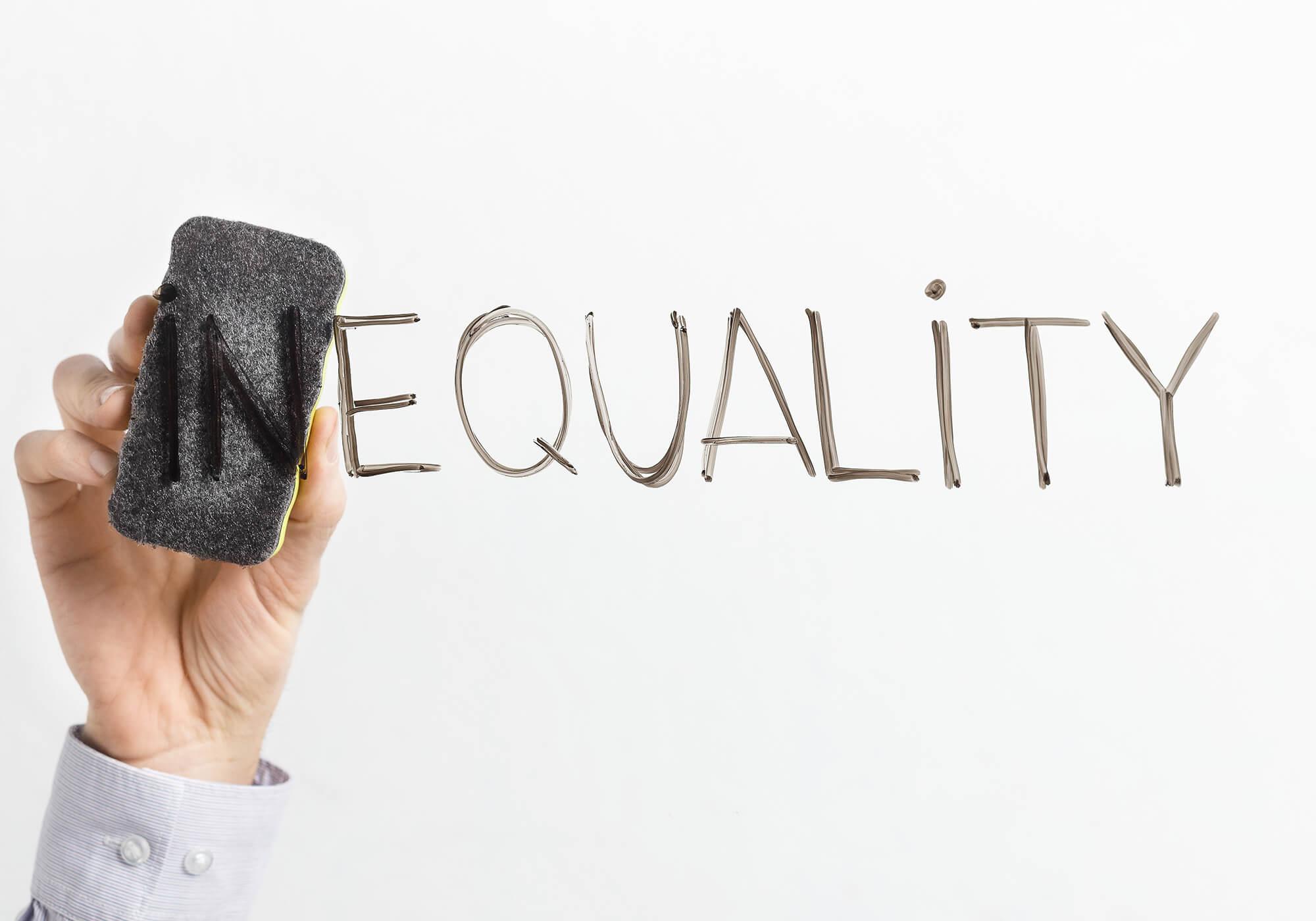 eraser inequality word on white background