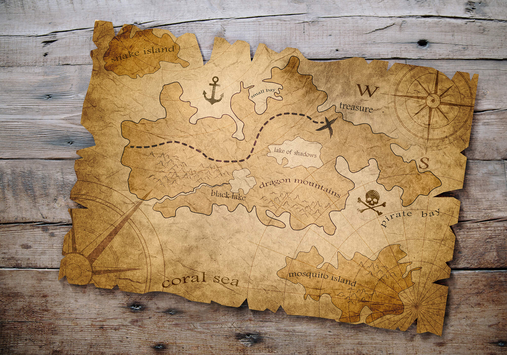 treasure map old tattered on wood table
