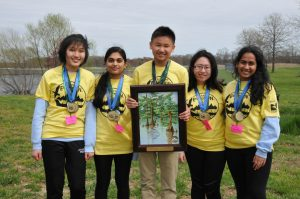 First Place Delaware Envirothon: Wilmington Team A, left to right: Victoria Deng, Udeerna Tippabhatla, Darren Wu, Shan Yu, and Shriya Boyapati. DNREC photo. (Additional photos available by request.)