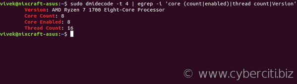 Linux dmidecode show CPU thread and core count