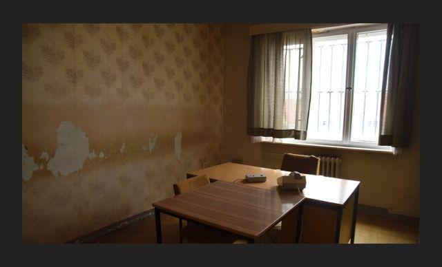 Interrogation room in the former Stasi prison, Hohenschönhausen Memorial, Berlin.