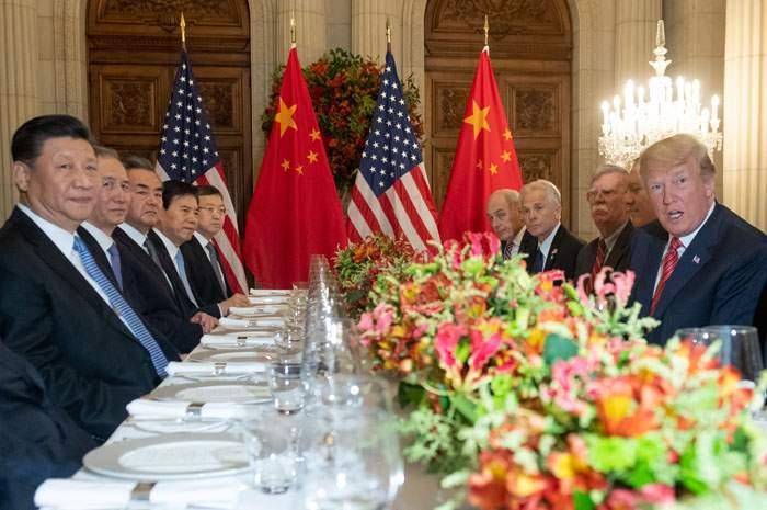 Xi Jinping and Donald Trump at dinner, December 2018