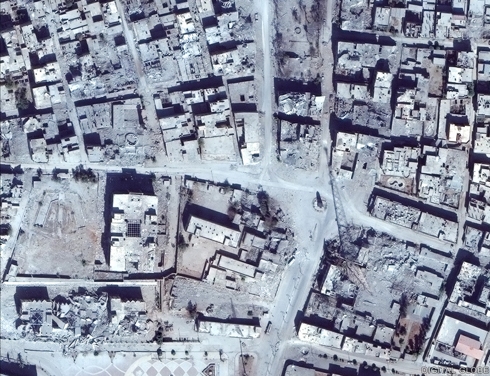 The Clock tower roundabout in central Raqqa where IS performed several public executions