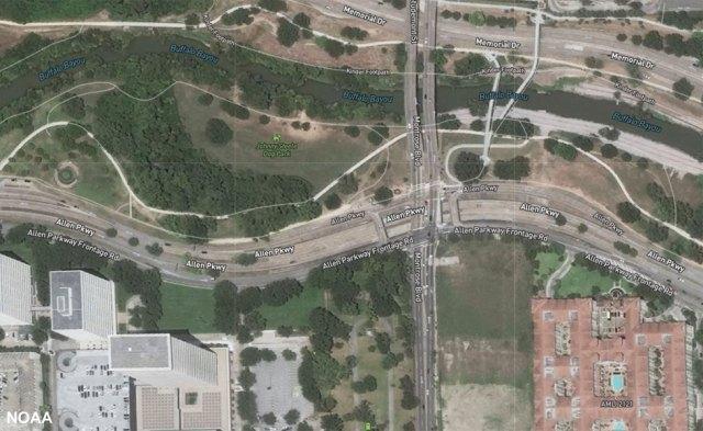 Satellite images shows central Houston
