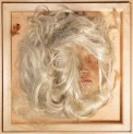 Giggling Machine, Self Portrait as Blonde, 1968, wax, wig, makeup, feathers, plexiglass, wood, 41.9 x 41.9 x 33 cm. In 1972, Leeson installed several of her Machines alongside more conventional drawings in an exhibition at the Berkeley Museum of Art. The sculptures of female heads were rigged to play recordings of the artist breathing, talking, and laughing when a hidden motion sensor was triggered. When she returned to her installation a few days later, she discovered the curators had removed the sculptures.