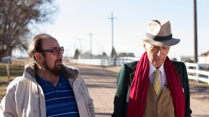 Gerald Foos and Gay Talese talking outdoors