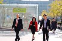 FIT president and administrators touring FIT at SUNY Korea